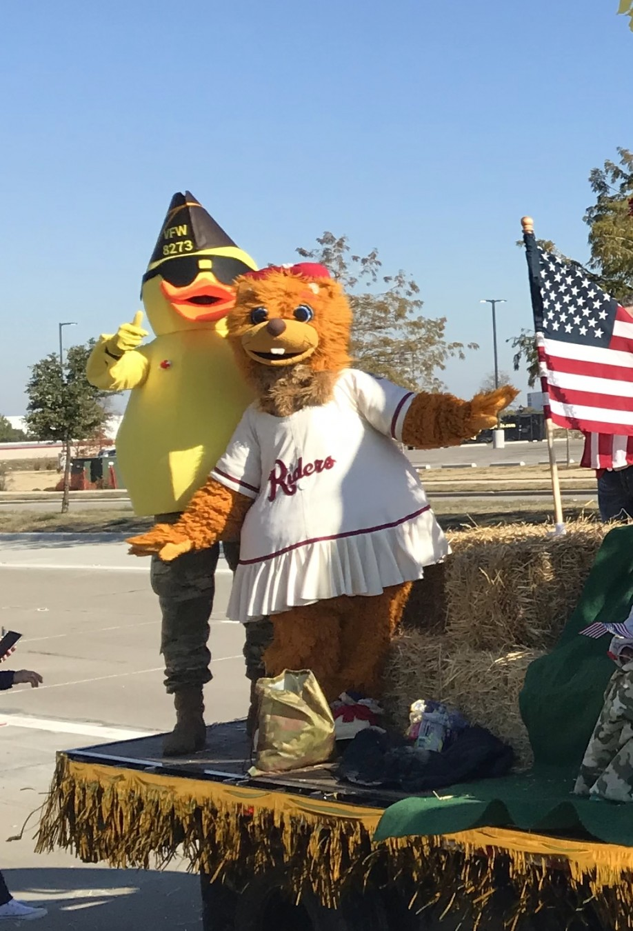 VFW Duck BOOTS and RoughRiders' DAISY mascots introduce OPERATION DUCK at the Frisco Community Parade - November 9 in Frisco TX.